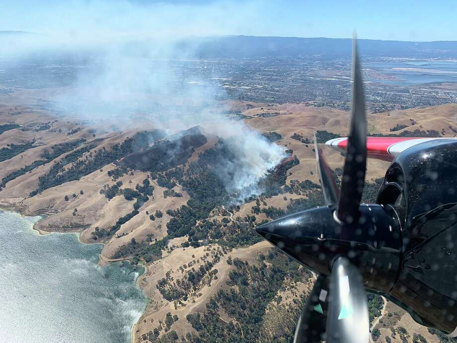 Cal Fire crews responded to a fire northeast of Milpitas which broke out Saturday afternoon. Photo: Courtesy Cal Fire