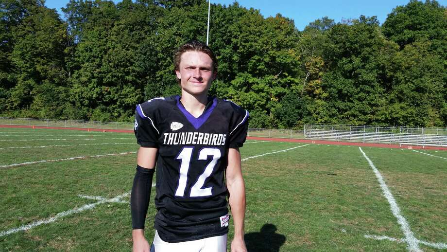 North Branford's Nate Raymond had two interceptions and a pair of touchdown receptions in Saturday's win over Haddam-Killingworth. Photo: Dan Nowak / Hearst Connecticut Media