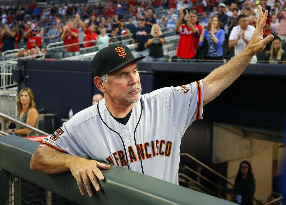 ATLANTA, GA - SEP 20: Manager Bruce Bochy of the San Francisco Giants waves to fans in the first inning of an MLB game against the San Francisco Giants at SunTrust Park on September 20, 2019 in Atlanta, Georgia. (Photo by Todd Kirkland/Getty Images) Photo: Todd Kirkland, Getty Images