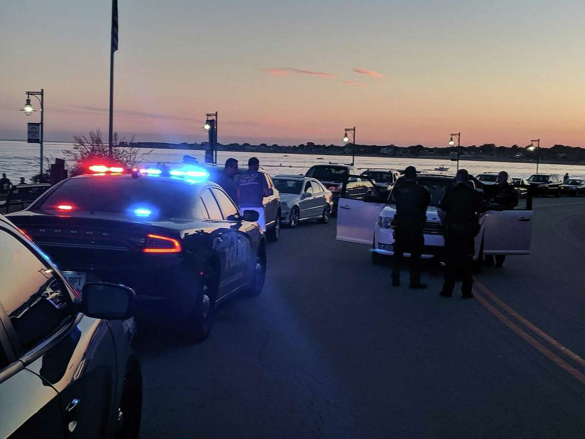 Six people were taken into custody after a pursuit with Bridgeport, Conn., police on Saturday, Sept. 21, 2019.