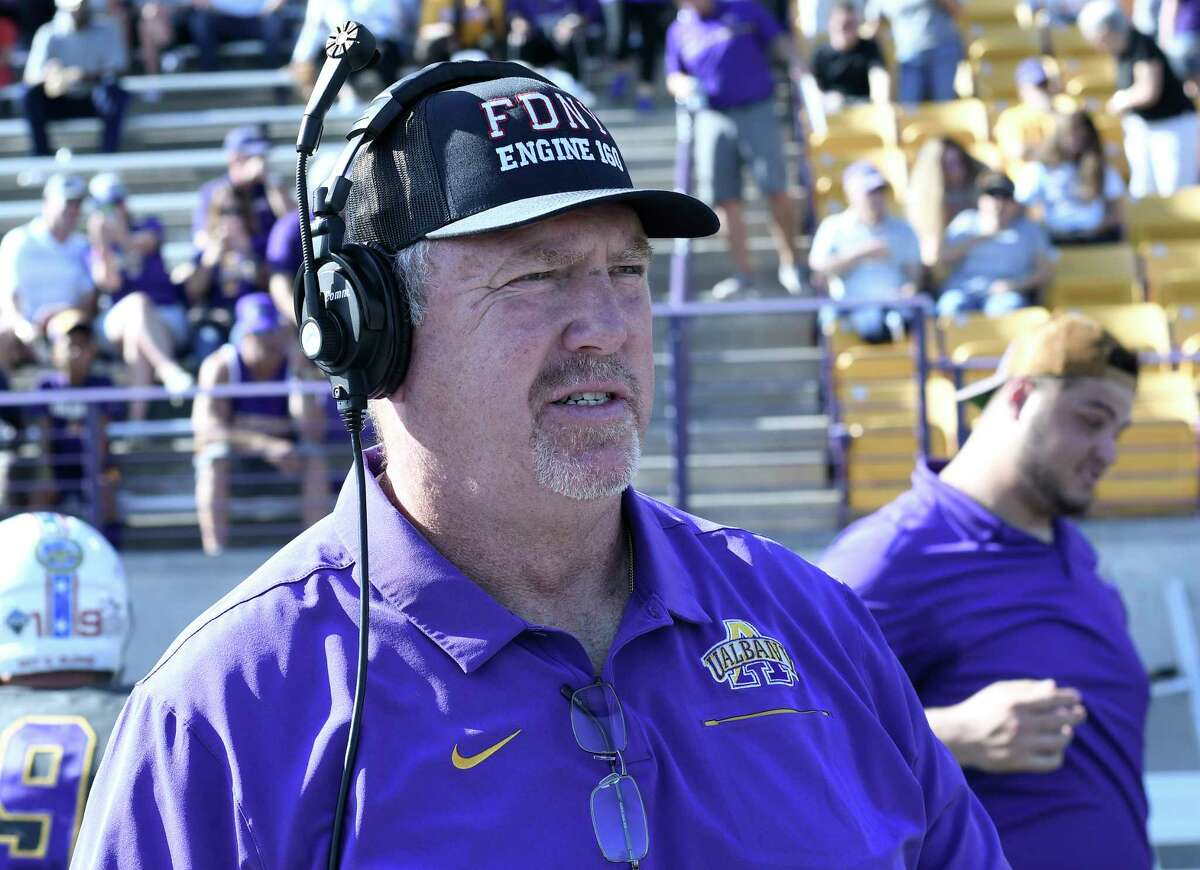 University at Albany offensive line coach Jim Sweeney said the Great Danes worked on their fundamentals during the week off before playing at eight-ranked Delaware on Oct. 2, 2021. (Times Union archive)
