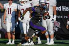 University at Albany wide receiver Juwan Green (4) runs with the ball after making a catch againstLafayetteduring the first half of an NCAA college football game Saturday, Sept. 21, 2019, in Albany, N.Y.