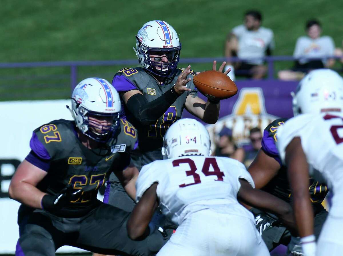 University at Albany quarterback Jeff Undercuffler (18) takes a snap against Lafayette during the first half of an NCAA college football game Saturday, Sept. 21, 2019, in Albany, N.Y.