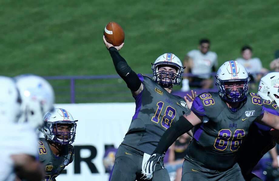 University at Albany quarterback Jeff Undercuffler (18) passes the ball against Lafayette during the first half of an NCAA college football game Saturday, Sept. 21, 2019, in Albany, N.Y. Photo: Hans Pennink, Times Union / Hans Pennink