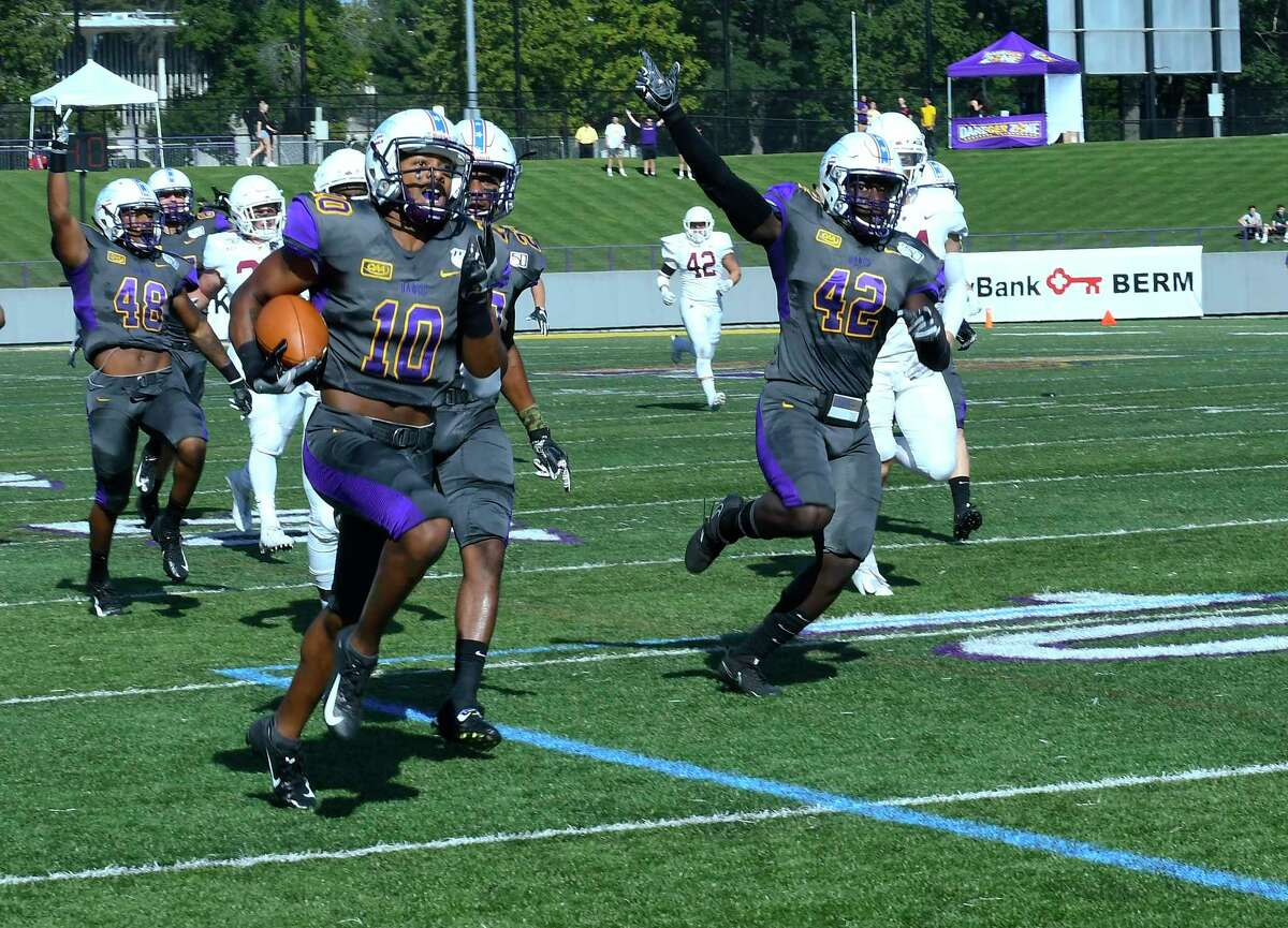 University at Albany wide receiver Donovan McDonald (10) returns the opening kickoff for a touchdown against Lafayette during the first half of an NCAA college football game Saturday, Sept. 21, 2019, in Albany, N.Y.