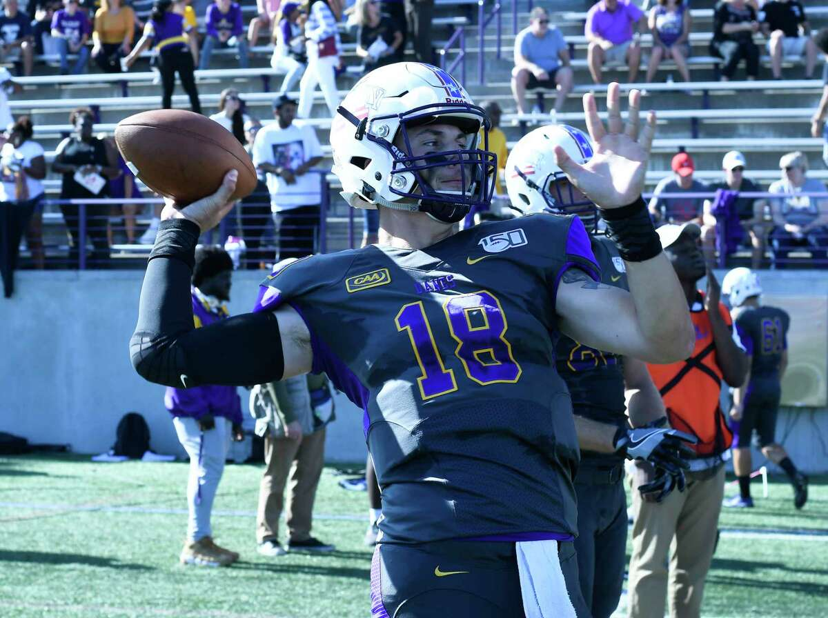 University at Albany quarterback Jeff Undercuffler (18) warms up before playing Lafayette during the first half of an NCAA college football game Saturday, Sept. 21, 2019, in Albany, N.Y.