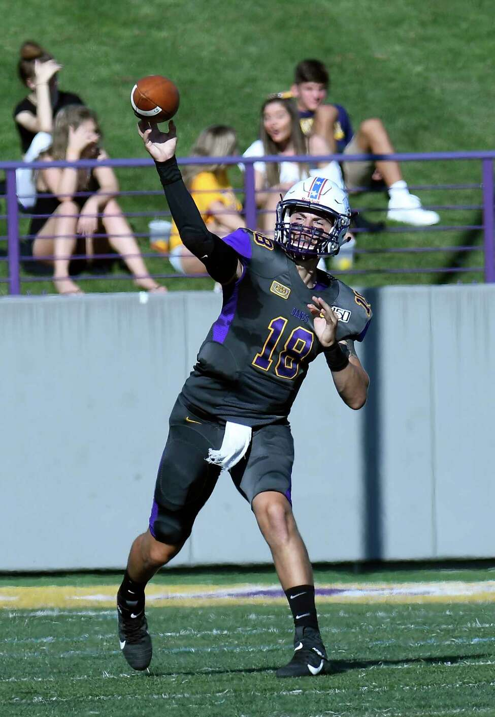 University at Albany quarterback Jeff Undercuffler (18) passes the ball against Lafayette during the first half of an NCAA college football game Saturday, Sept. 21, 2019, in Albany, N.Y.