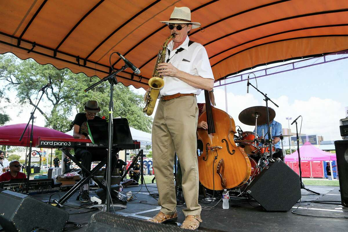 Richard Oppenheim plays saxophone with the Hess Brothers on the Tech Tempo Stage at the 36th Annual Jazz'SAlive festival at Travis Park on Saturday, Sept. 21, 2019. This year's festival featured five-time Grammy winner Diane Reeves and local acts including The Lao Tizer Band, The U.S. Air Force Band dimensions in Blue and the Adrian Ruiz Quartet