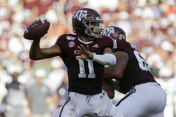 Texas A&M Aggies quarterback Kellen Mond (11) throws the bal against the Auburn Tigers during the third quarter of an SEC game at Kyle Field Saturday, Sept. 21, 2019, in College Station, TX. The Tigers won 28-20.