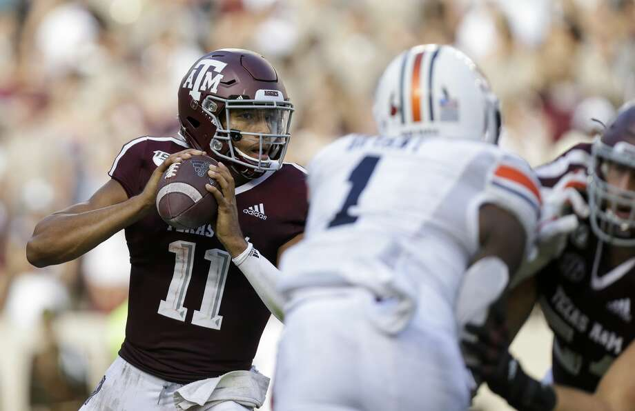 PHOTOS: Texas A&M vs. Auburn  Texas A&M Aggies quarterback Kellen Mond (11) looks for an open receiver against the Auburn Tigers during the third quarter of an SEC game at Kyle Field Saturday, Sept. 21, 2019, in College Station, TX. The Tigers won 28-20. >>>See more photos from the Aggies' game against Auburn last week ...  Photo: Godofredo A Vásquez