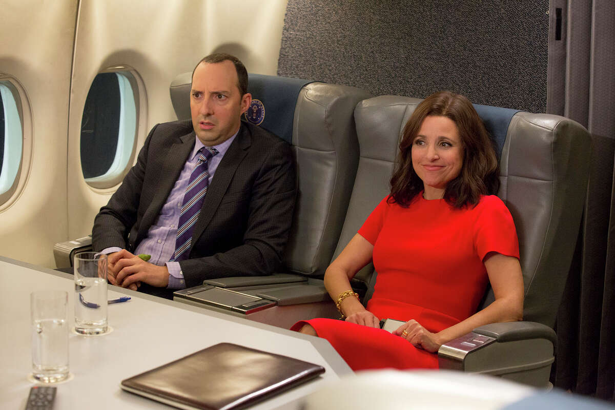 Tony Hale and Julia Louis-Dreyfus as Gary Walsh and Selina Meyer in