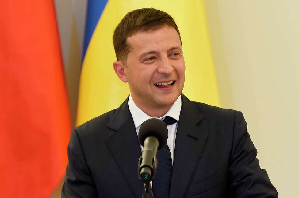 Ukraine's President Volodymyr Zelensky gives a joint press conference following talks with Poland's President on bilateral relations and Ukraine's ties with Europe under the new government, at the Presidential Place in Warsaw on August 31, 2019. - Zelenskiy is in Warsaw with members of his new cabinet and will attend ceremonies marking 80 years since the outbreak of World War II. (Photo by Janek SKARZYNSKI / AFP)JANEK SKARZYNSKI/AFP/Getty Images