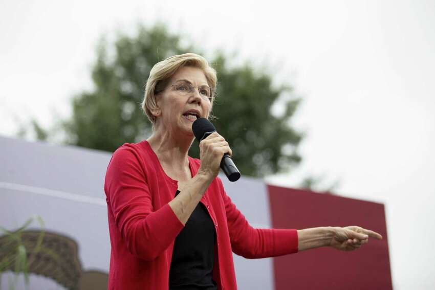 Senator Elizabeth Warren, a Democrat from Massachusetts and 2020 presidential candidate, speaks at the Polk County Steak Fry in Des Moines, Iowa, U.S., on Saturday, Sept. 21, 2019. WarrenA was greeted on the main stage by thousands of her signature
