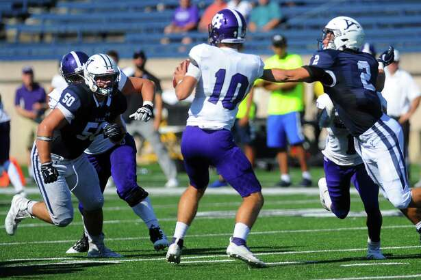 Yale's Spencer Matthaei (50) recorded a career-high three tackles for loss in Yale's win over Holy Cross on Saturday.