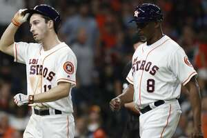 Houston Astros Garrett Stubbs (11) reacts after he was tagged out at third base by Los Angeles Angels third baseman Kaleb Cowart to end the seventh inning of an MLB baseball game at Minute Maid Park, Saturday, Sept. 21, 2019, in Houston.