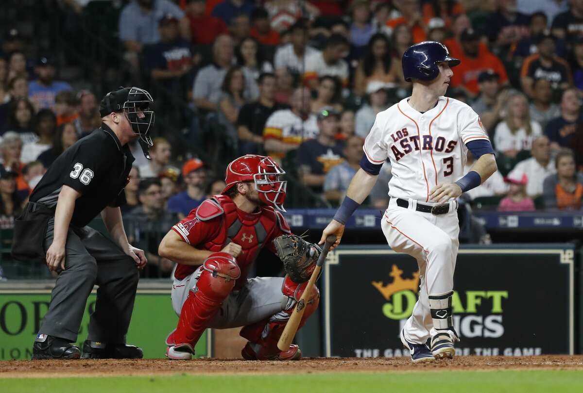 Houston Astros Kyle Tucker (3) doubles in the seventh inning of an MLB baseball game at Minute Maid Park, Saturday, Sept. 21, 2019, in Houston.