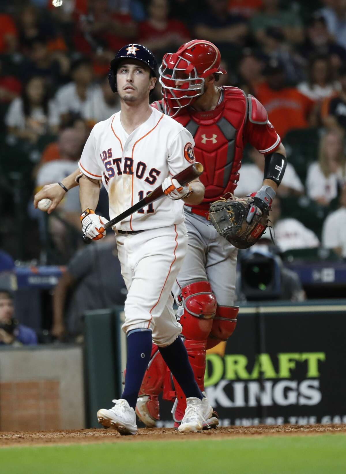 Houston Astros Garrett Stubbs (11) reacts after striking out to end an MLB baseball game at Minute Maid Park, Saturday, Sept. 21, 2019, in Houston. Los Angeles Angels beat the Astros 8-4.