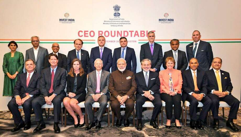 During a Saturday, September 21, 2019 visit to Houston, Prime Minister of India Narendra Modi held a roundtable disucssion with executives from 16 energy industry companies at the Post Oak Hotel at Uptown Houston. The roundtable ended with Houston liquefied natural gas company Tellurian and India's Petronet LNG signing a $2.5 billion deal. Photo: Office Of The Prime Minister Of India