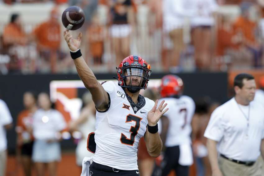 AUSTIN, TX - SEPTEMBER 21: Spencer Sanders #3 of the Oklahoma State Cowboys throws a pass before the game against the Texas Longhorns at Darrell K Royal-Texas Memorial Stadium on September 21, 2019 in Austin, Texas. (Photo by Tim Warner/Getty Images)