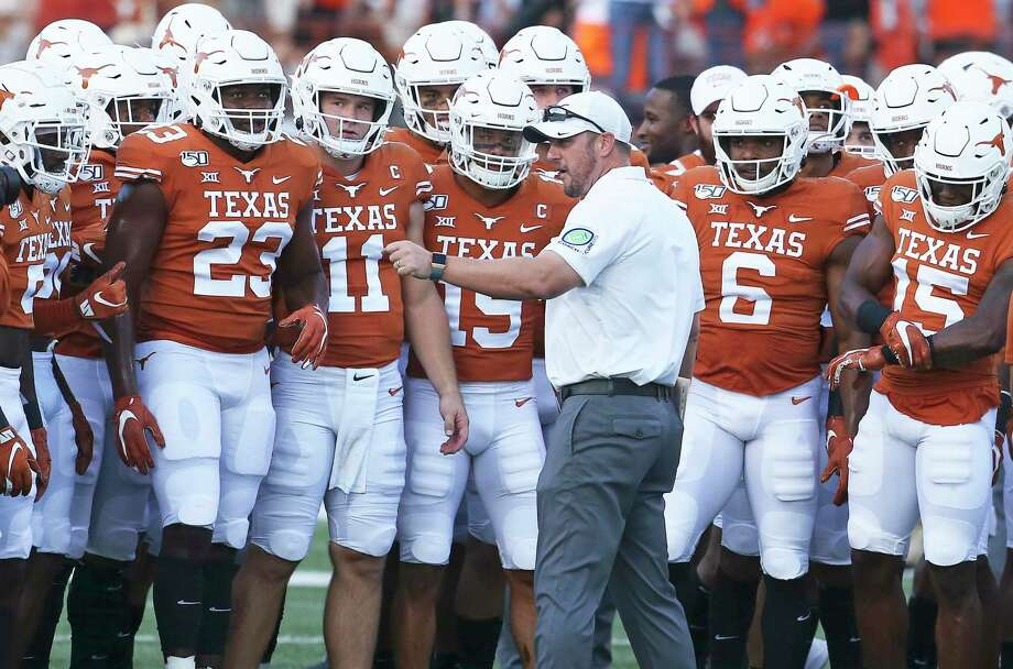 Coach Tom Herman gets his players ready as Texas hosts Oklahoma State University at DKR Royal Stadium in Austin on Sept. 21, 2019. Photo: Tom Reel, Staff / Staff Photographer / 2019 SAN ANTONIO EXPRESS-NEWS