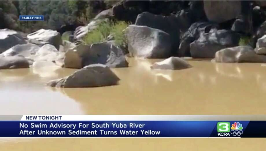 There is a no-swim advisory for the South Yuba River in late Sept. 2019 as the waters have turned yellow with an unknown sediment. Photo: KCRA
