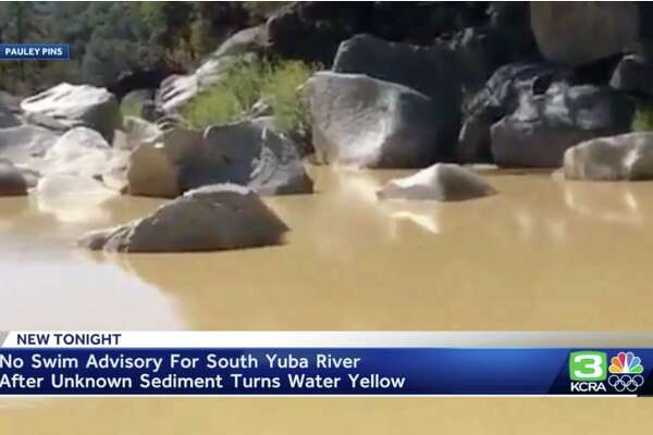 There is a no-swim advisory for the South Yuba River in late Sept. 2019 as the waters have turned yellow with an unknown sediment.
