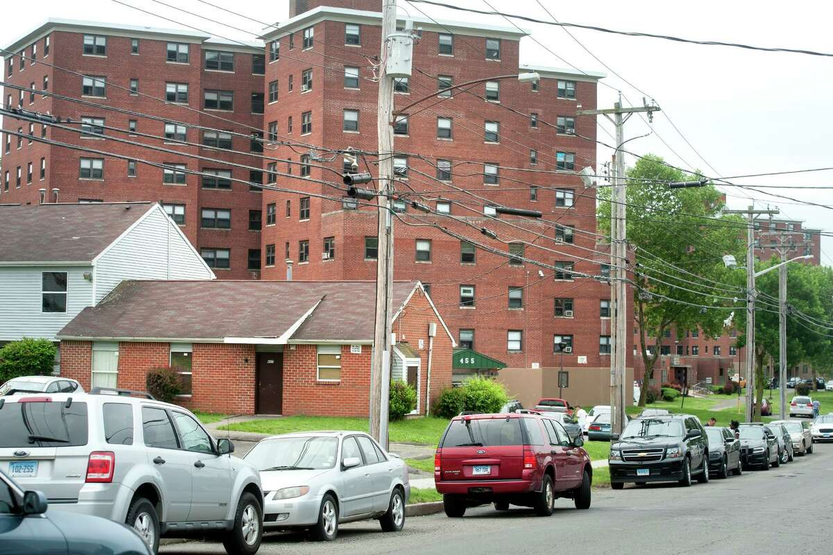 Views of the Trumbull Gardens housing complex, in Bridgeport, Conn. May 31, 2018. Police reported a shooting near the public housing complex shortly after midnight Sunday. Police said the unidentified victim's condition is unknown