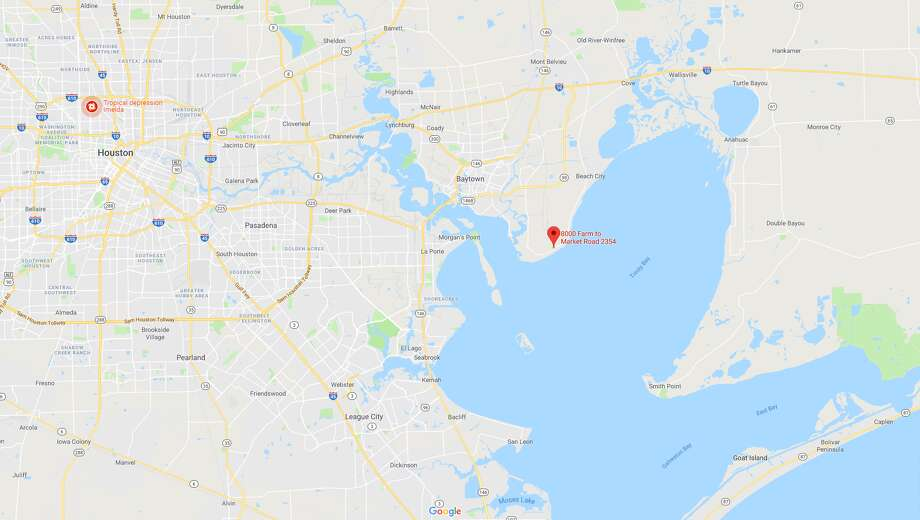 A screenshot of the 8000 block of Tri City Beach Road in Beach City, Texas. Chambers County officials said a realtor discovered a man's body inside a home nearby. Photo: File/Google