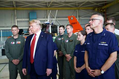 President Donald Trump answers question from the press during a stop to greet members of the Coast Guard in Ellington Field Joint Reserve Base, Sunday, Sept. 22, 2019 in Houston. Photo: Marie D. De Jesus, Houston Chronicle / Staff Photographer / Marie D. De Jesus / Houston Chronicle