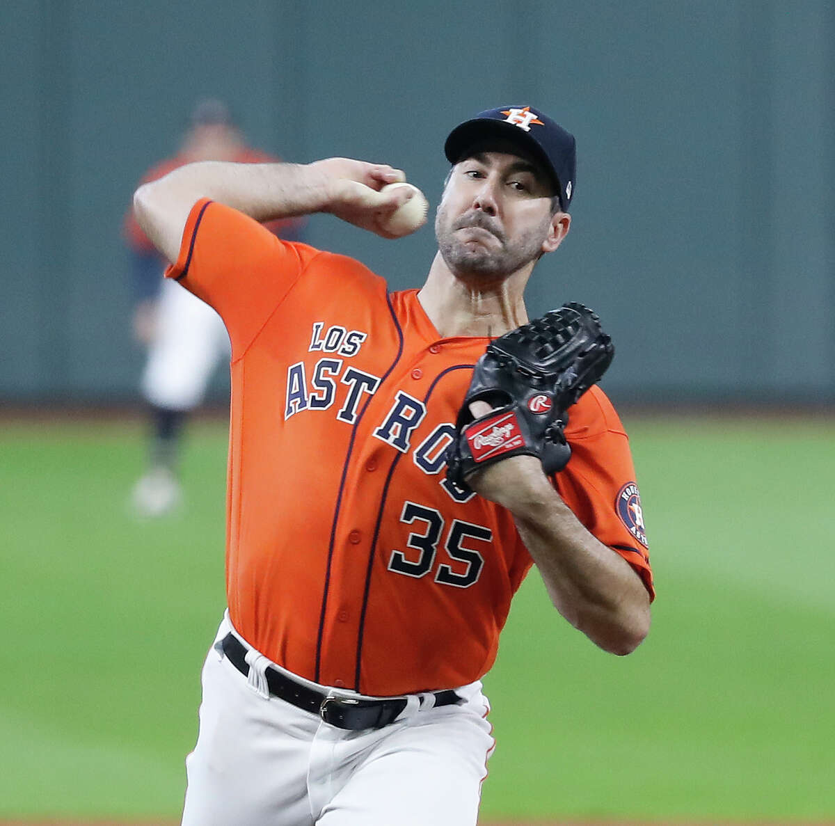 Houston Astros starting pitcher Justin Verlander (35) pitches in the first inning of an MLB baseball game at Minute Maid Park, Sunday, Sept. 22, 2019, in Houston.