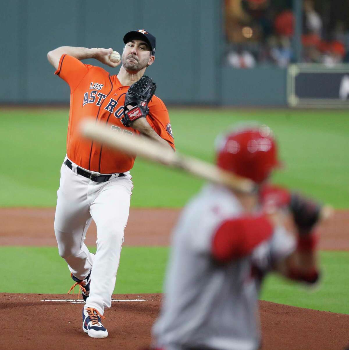 Houston Astros starting pitcher Justin Verlander (35) faces Los Angeles Angels David Fletcher (6) in the first inning of an MLB baseball game at Minute Maid Park, Sunday, Sept. 22, 2019, in Houston.
