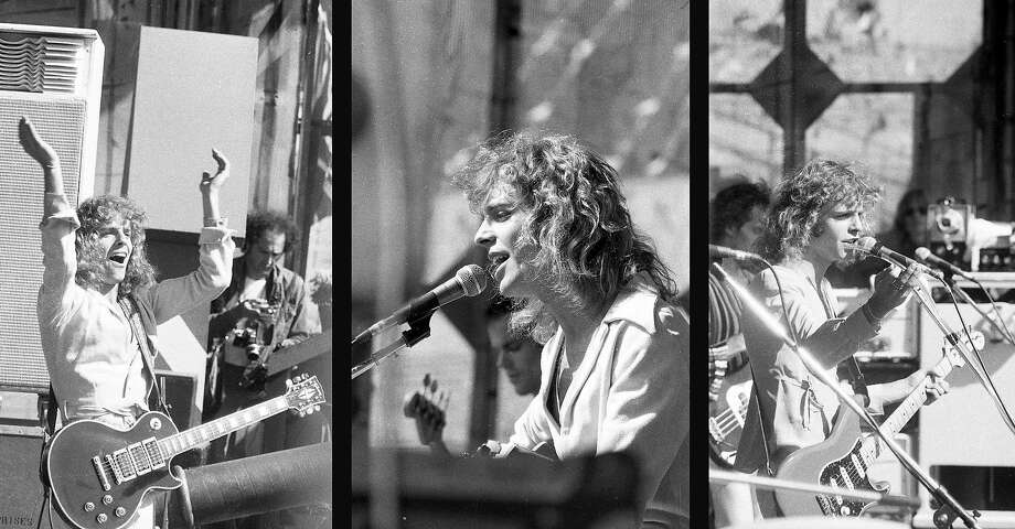 April 25, 1976: Peter Frampton performs an energetic set for a sold-out Day on the Green crowd at the Oakland Coliseum. Photo: Susan Gilbert / The Chronicle 1976