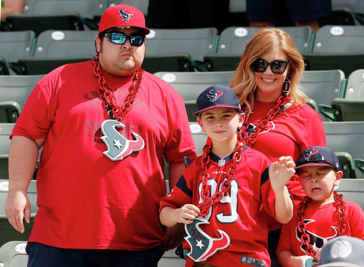 Houston Texans fans watch warm ups before and NFL game against the Los Angeles Chargers at Dignity Health Sports Park on Sunday, Sept. 22, 2019, in Carson, Calif.