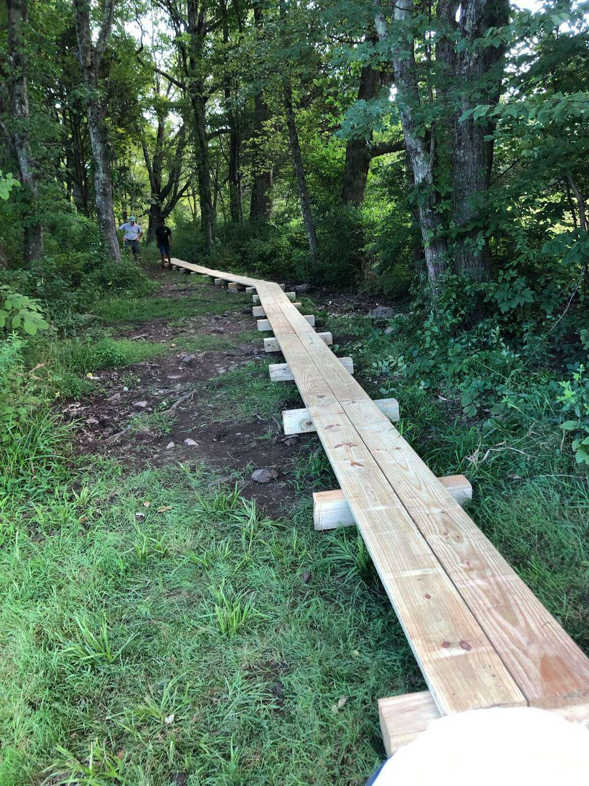 The walkway completed at Randall's Farm Nature Preserve in Easton by Boy Scout Sam Sciaudone.