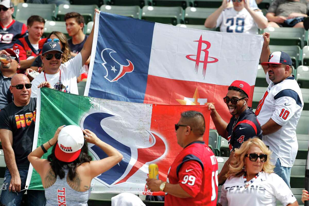 PHOTOS: A look at Texans fans at Sunday's game in Los Angeles Houston Texans fans hold up flags and pose for photos before and NFL game against the Los Angeles Chargers at Dignity Health Sports Park on Sunday, Sept. 22, 2019, in Carson, Calif.