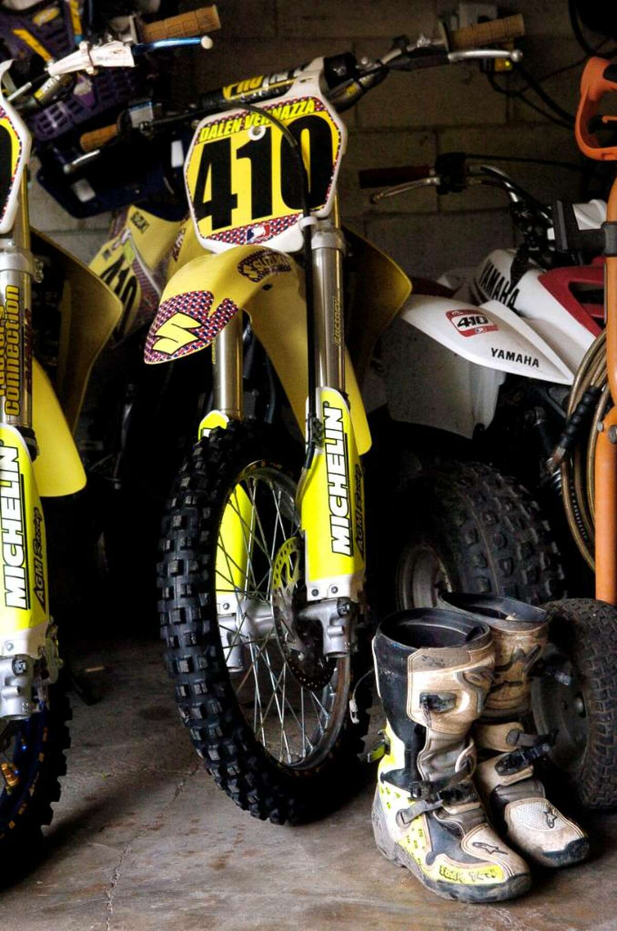 A couple of Dalen Vernazza's bikes in the garage of his Thornridge Rd home in Stamford, Conn. Thursday August 5, 2010.