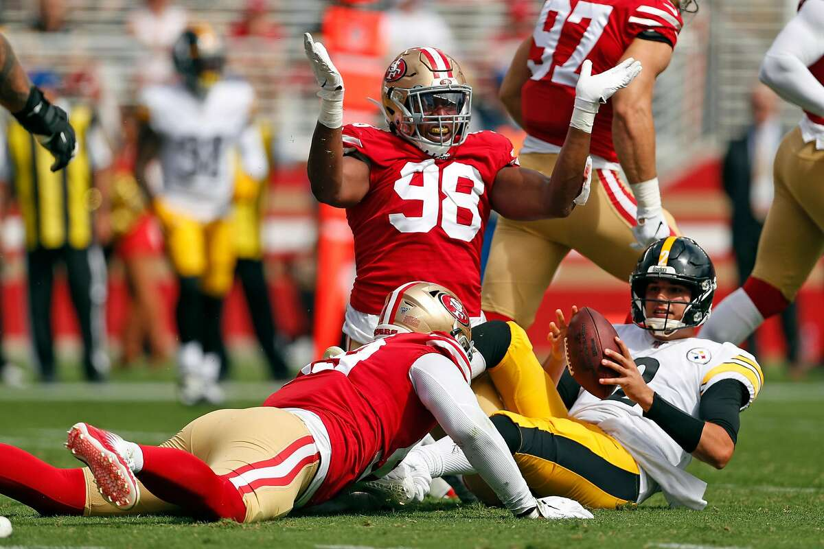 San Francisco 49ers' Ronald Blair III celebrates tackling Pittsburgh Steelers' Mason Rudolph in 2nd quarter during NFL game at Levi's Stadium in Santa Clara, Calif., on Sunday, September 22, 2019.