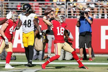 buy popular fb31c cd569 Sloppy 49ers beat Steelers 24-20 on late Garoppolo TD pass ...