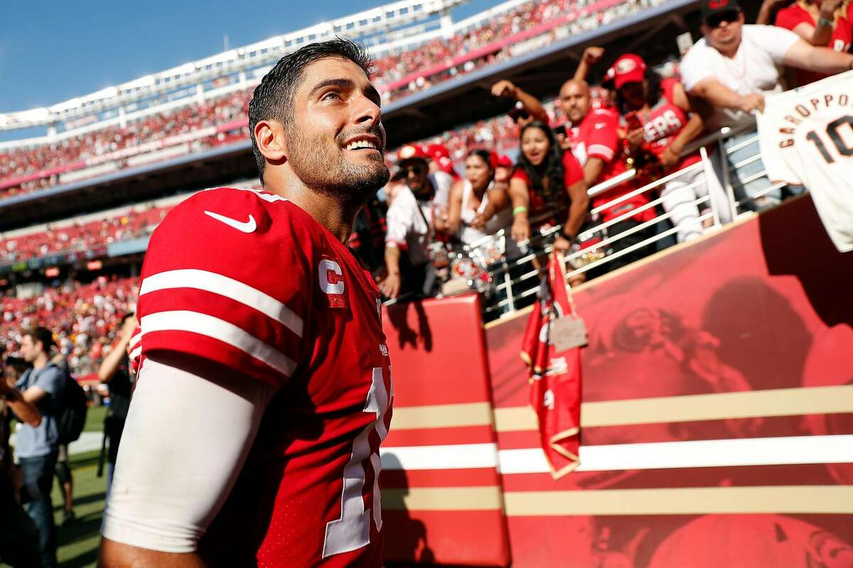 San Francisco 49ers' Jimmy Garoppolo celebrates after Niners' 24-20 win over Pittsburgh Steelers in NFL game at Levi's Stadium in Santa Clara, Calif., on Sunday, September 22, 2019.