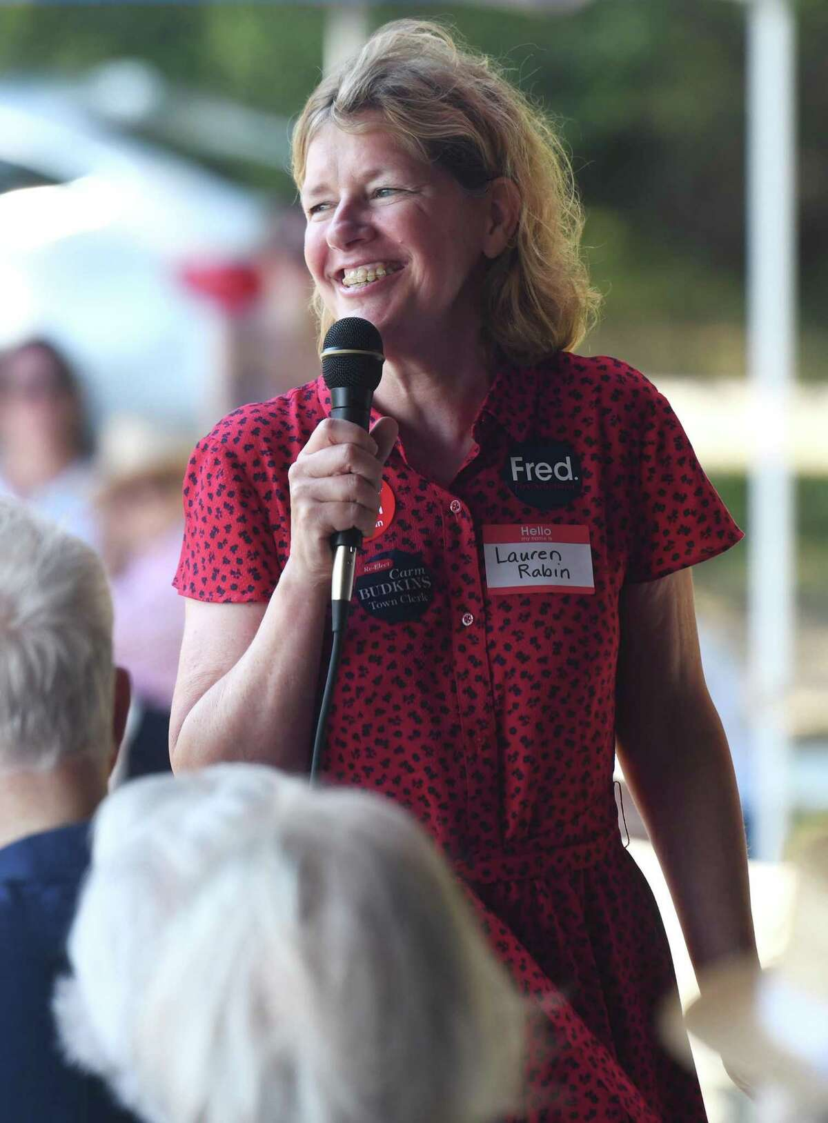 Selectman candidate Lauren Rabin speaks at the Greenwich Republican Town Committee annual clambake at Greenwich Point Park's Clambake Area. She and Litvack will face off in debates on Oct. 10 and Oct. 22.