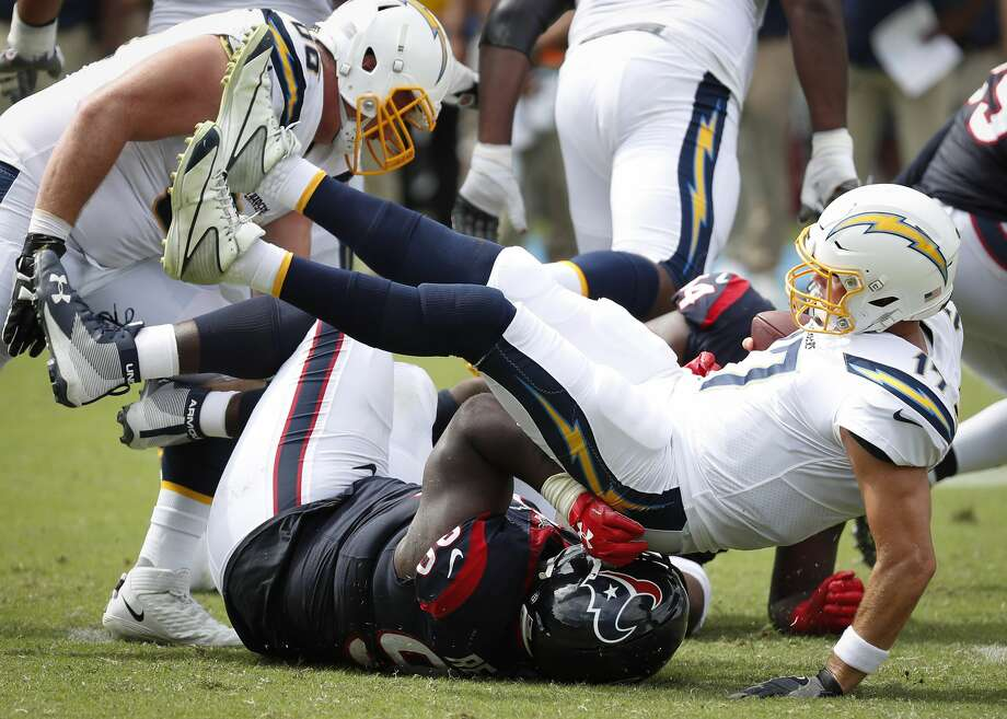 Houston Texans defensive end D.J. Reader (98) sacks Los Angeles Chargers quarterback Philip Rivers (17) during the second quarter of an NFL football game at Dignity Health Sports Park on Sunday, Sept. 22, 2019, in Carson, Calif. Photo: Brett Coomer/Staff Photographer