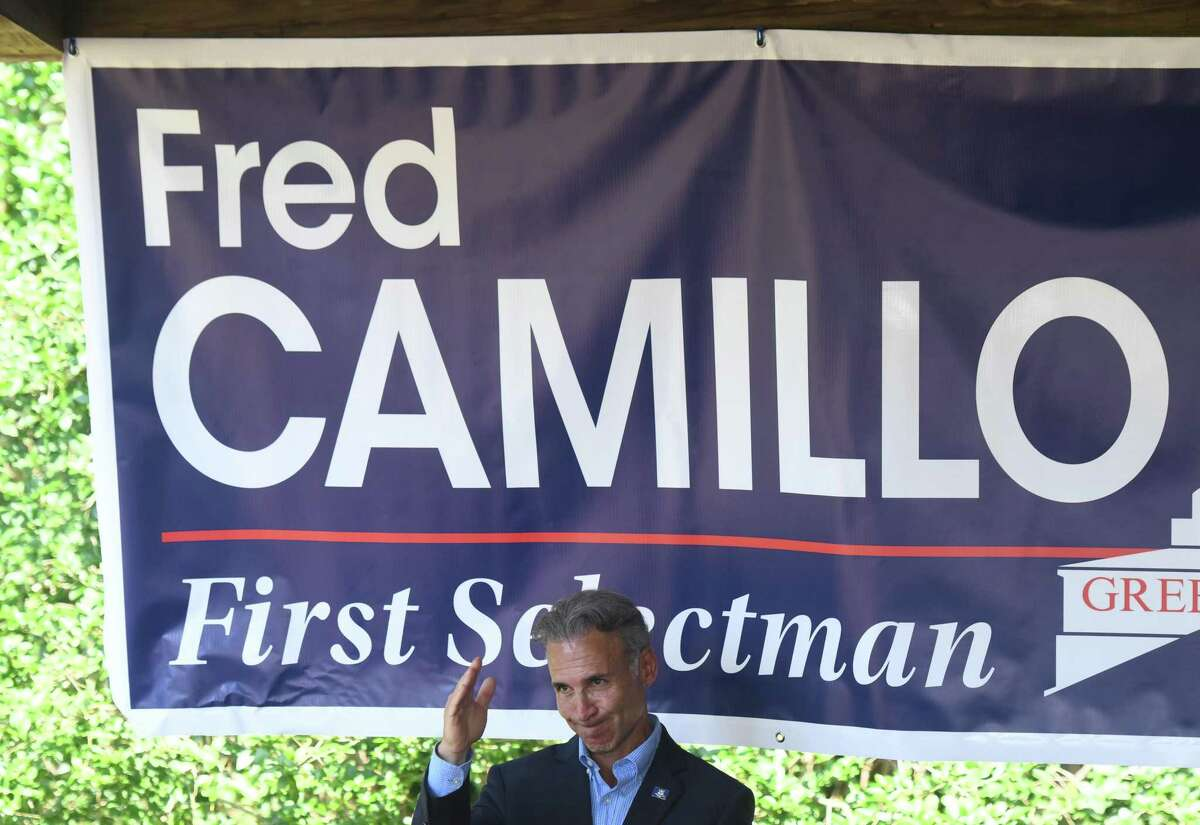 Fred Camillo campaigns at the Greenwich Republican Town Committee annual clambake at Greenwich Point Park's Clambake Area in Old Greenwich, Conn. Sunday, Sept. 22, 2019.