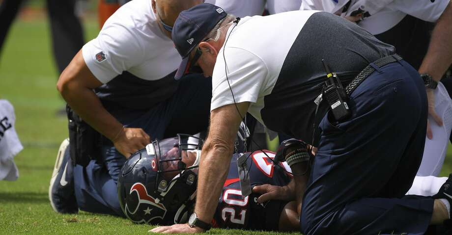 Houston Texans strong safety Justin Reid is attended to after getting hurt during the first half of an NFL football game against the Los Angeles Chargers Sunday, Sept. 22, 2019, in Carson, Calif. (AP Photo/Mark J. Terrill) Photo: Mark J. Terrill/Associated Press