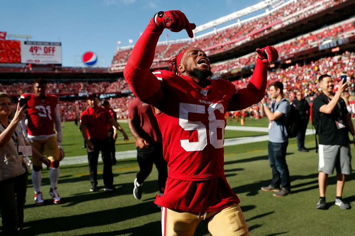 San Francisco 49ers' Kwon Alexander celebrates after Niners' 24-20 win over Pittsburgh Steelers in NFL game at Levi's Stadium in Santa Clara, Calif., on Sunday, September 22, 2019.