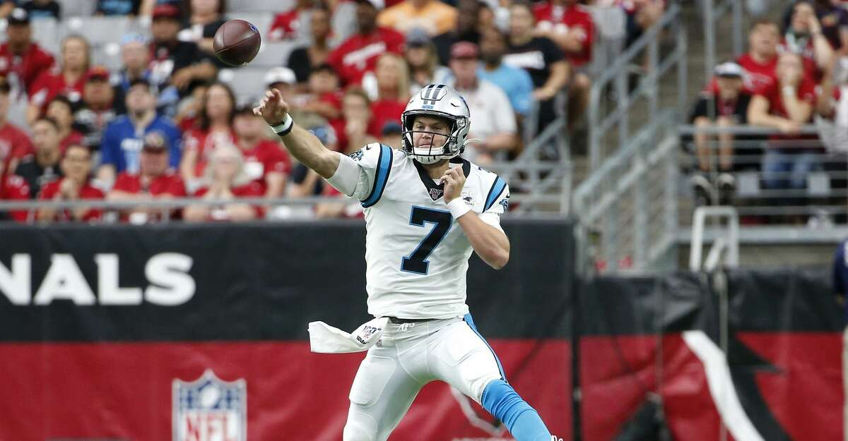 GLENDALE, ARIZONA - SEPTEMBER 22: Quarterback Kyle Allen #7 of the Carolina Panthers throws a pass against the Arizona Cardinals during the first half of the NFL football game at State Farm Stadium on September 22, 2019 in Glendale, Arizona. (Photo by Ralph Freso/Getty Images)