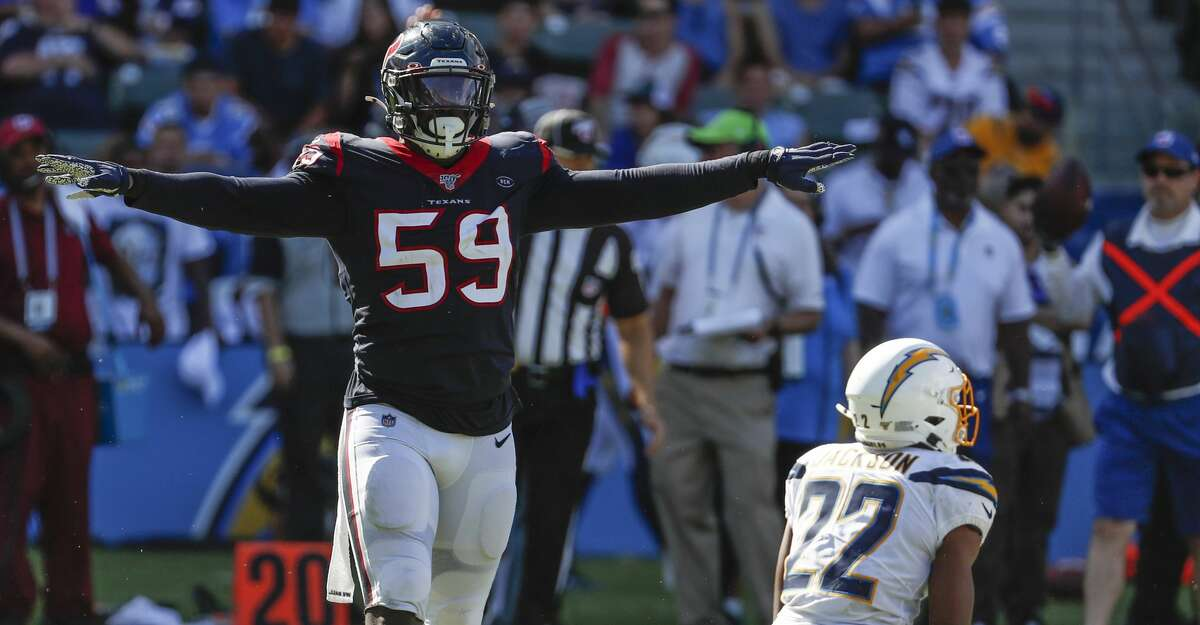 PHOTOS: John McClain's 2019 Week 17 predictions Houston Texans outside linebacker Whitney Mercilus (59) reacts after stopping Los Angeles Chargers running back Justin Jackson (22) behind the line of scrimmage during the third quarter of an NFL football game at Dignity Health Sports Park on Sunday, Sept. 22, 2019, in Carson, Calif. >>>See The General's picks for this week's matchups ...