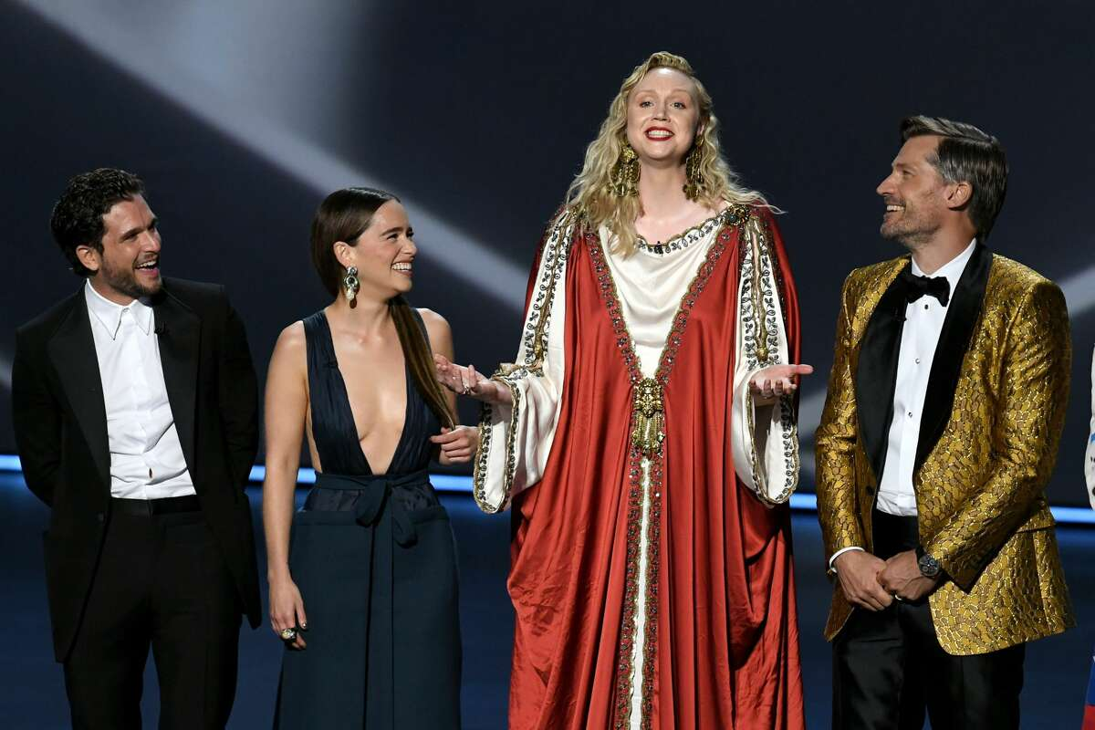 Here's what the stars wore to the 2019 Emmy AwardsKit Harington, Emilia Clarke, Gwendoline Christie, and Nikolaj Coster-Waldau speak onstage during the 71st Emmy Awards at Microsoft Theater on Sept. 22, 2019 in Los Angeles, Calif.