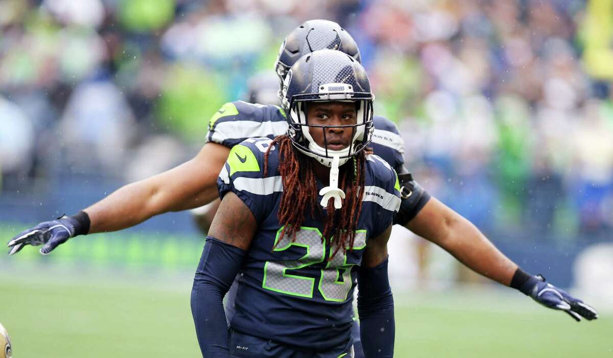 Seattle Seahawks cornerback Shaquill Griffin (26) looks on after making a tackle during Seattle's game against the New Orleans Saints, Sunday, Sept. 22, 2019. The Seahawks lost 33-27.