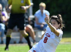 Guilderland's Riley Grim (8) during a Section II girls' soccer game against   Colonie's in Colonie, N.Y., Saturday, Sept. 21, 2019. (Hans Pennink / Special to the Times Union)