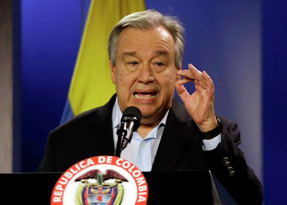 FILE - Jan. 13, 2018 file photo, U.N. Secretary-General Antonio Guterres talks to the media during a join declaration with the Colombian president, in Bogota, Colombia. Saying humanity is waging war with the planet, the head of the United Nations isna€™t planning to let just any world leader speak about climate change in Mondaya€™s special a€œaction summit.a€ Guterres says only those with new specific and bold plans can command the podium and the ever-warming worlda€™s attention. (AP Photo/Fernando Vergara, File)